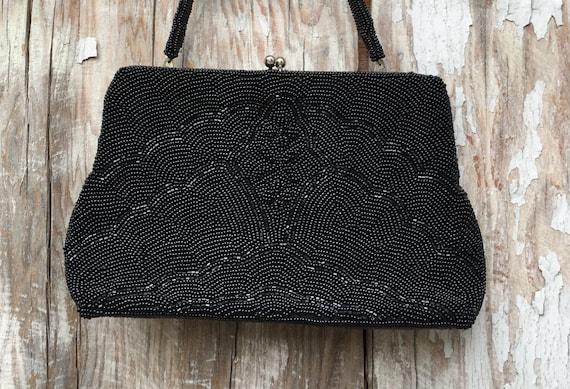 1950s black beaded evening bag  / 50s vintage purs