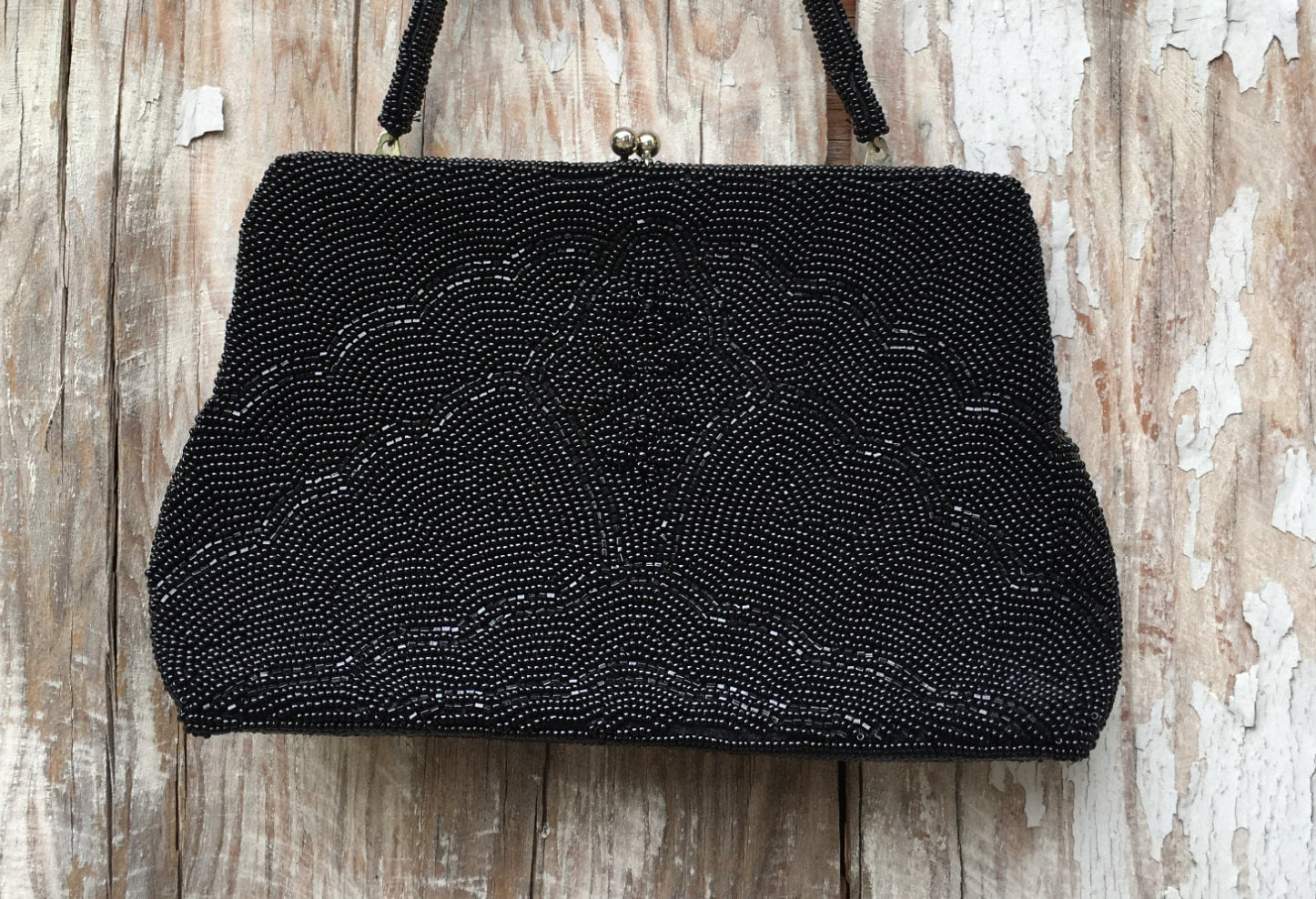 50s Evening Bag is embellished with rows and rows of pearl beading Vintage 40s