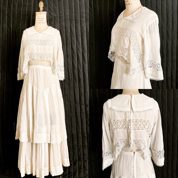 White Edwardian Tiered Cotton Dress / Edwardian Da
