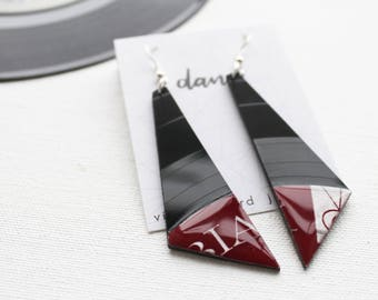 bold record earrings large geometric earrings art earrings dark red earrings one of a kind jewelry gift for vinyl lover ecofashion for her