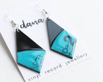 blue geometric earrings statement earrings funky earrings unique jewelry music jewelry vinyl record earrings gift for her