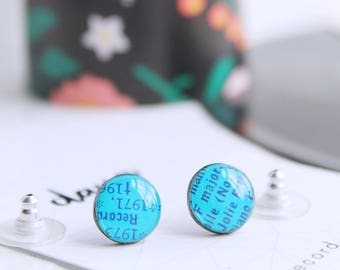 blue stud earrings small studs 10mm stud earrings hypoallergenic studs funky studs round studs colorful earrings recycled vinyl record