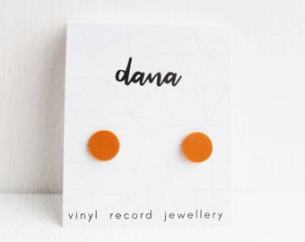 flat orange studs unisex stud earrings colorful studs repurposed jewelry simple modern studs vinyl record studs gift idea record collector