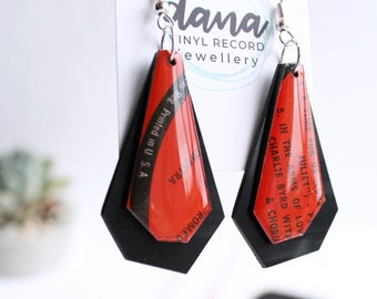 ROMEO & JULIET love earrings romantic jewelry unique original gift for girlfriend wife word earrings black and red earrings quirky jewelry