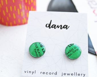 mismatched studs funky stud earrings colorful studs green studs resin jewelry hypoallergenic studs unique handmade jewelry vinyl record art