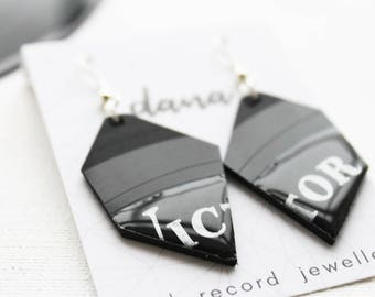 statement geometric earrings black earrings funky earrings unique earrings large earrings vinyl dangle earrings vinyl record earrings