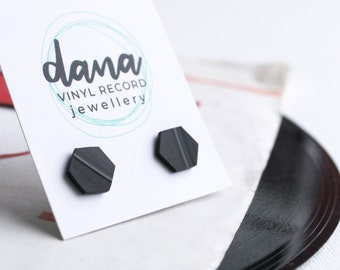 simple flat black hexagon studs handmade from recycled vinyl record - hypoallergenic - slow fashion