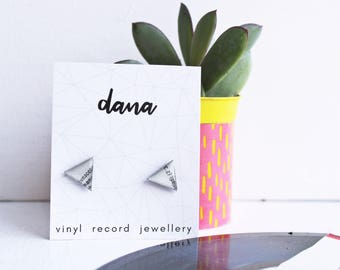triangle post earrings gray stud earrings triangle studs eco-friendly jewelry hypoallergenic studs upcycled vinyl records gift for her