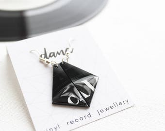 black triangle earrings contemporary earrings gift for vinyl record collector one of recycled earrings eco fashion unique jewelry for women