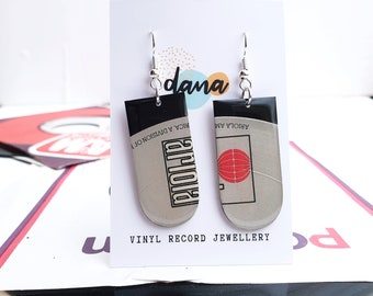 bold graphic retro 80's style recycled earrings handmade from vinyl record - asymmetric OOAK earrings - one of a kind gift for vinyl lover
