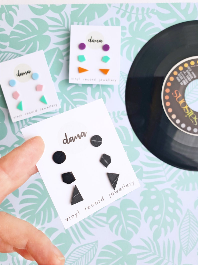 9307352baceca set of 3 pairs vinyl record black studs minimalist studs upcycled jewelry  simple studs everyday studs hypoallergenic flat studs gift for her