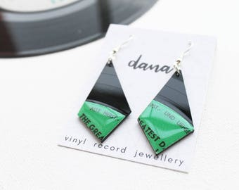 Green geometric earrings statement earrings funky earrings unique jewelry music jewelry vinyl record earrings gift for her