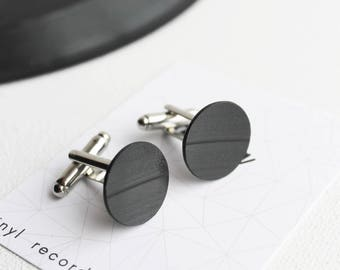 black cufflinks vinyl record cufflinks gift for DJ statement cufflinks minimalist cufflinks gift for men upcycled cufflinks for music lover