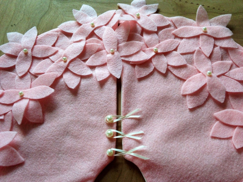 48 Christmas Tree Skirt Pink Felt Easter Tree Skirt Christmas Tree Skirt Holiday Tree Skirt Shabby Chic Decor Vintage