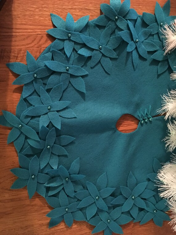 Tree Skirt Teal Felt With Flowers Small Spring Tree Skirt Etsy