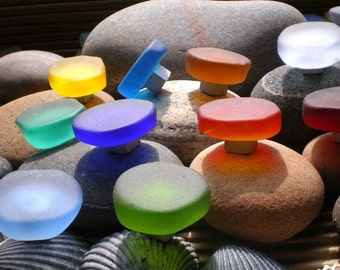 Hand carved and tumbled glass knobs