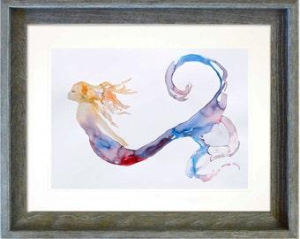 "Mermaid art print by Tamara Kapan ""Tranquility"" custom framed fantasy mermaid wall decor in Weathered Grey Wood Frame"