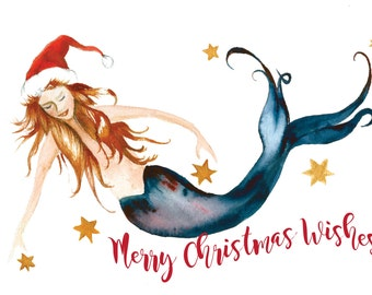Mermaid Holiday Card by Dotty Reiman  - Mermaid art inside - Holiday Card