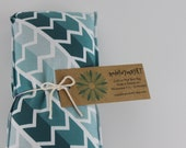 Neck Shoulder Rice Bag - 4.5 x 21 inches, hot or cold therapy pack, teal ombre geometric chevron pattern, rice heating pad