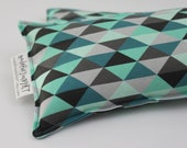 Neck Shoulder Rice Bag - 4.5 x 21 inches, hot or cold therapy pack, teal, mint, gray, black, triangle pattern, rice heating pad
