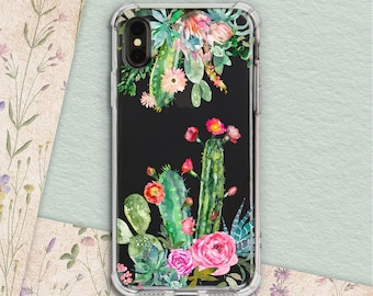 f7b746bf836 protective case cacti phone case Plant lover iphone case succulent  protective floral case iPhone 7 Plus iPhone XR iPhone X Samsung 7 Galaxy