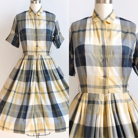 50s Vintage Plaid Shirtwaist Day Dress - Small