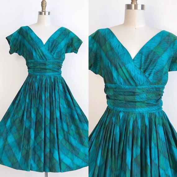50s Vintage Blue Green Plaid Checkered Harlequin P