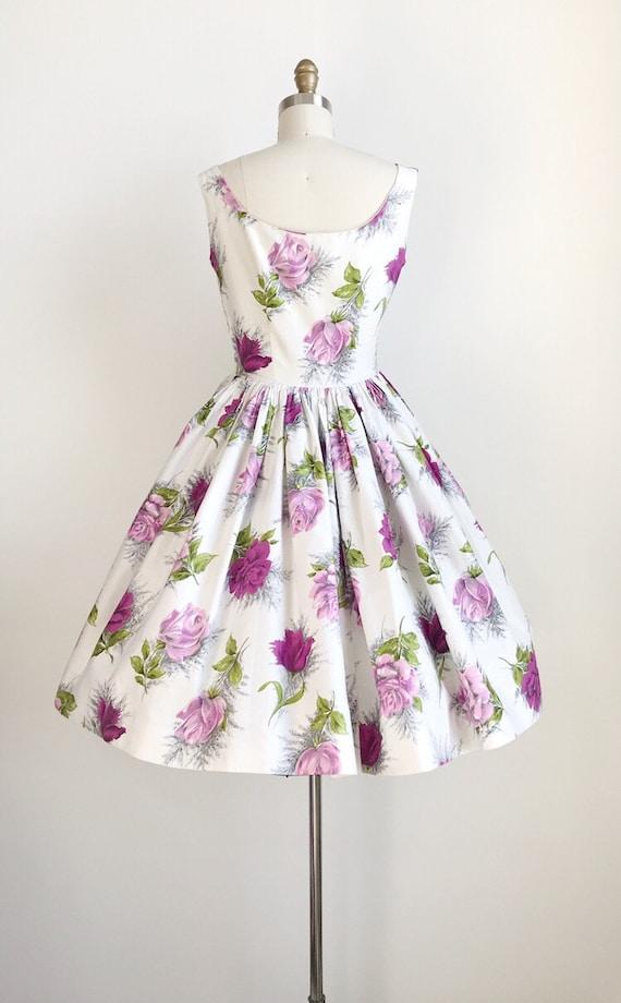 Vintage 50s Purple Rose Floral Print Dress - Medi… - image 7