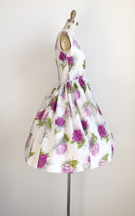 Vintage 50s Purple Rose Floral Print Dress - Medi… - image 6
