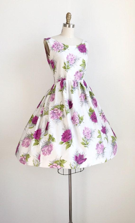 Vintage 50s Purple Rose Floral Print Dress - Medi… - image 5