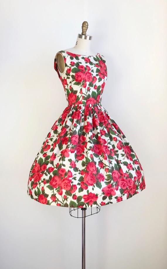 50s Vintage Red Rose Print Floral Print Day Dress… - image 3