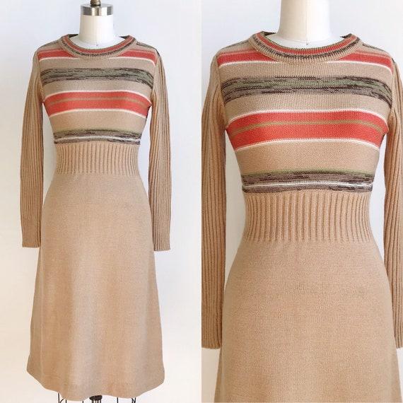 70s Vintage Striped Sweater Dress - Small/Medium