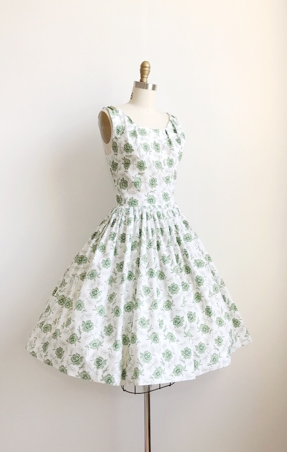 50s Green Rose Embroidered Print Day  Dress  - Sm… - image 4