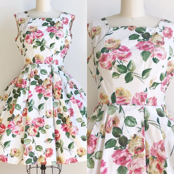 50s Vintage Rose Floral Print Cotton Dress - Mediu