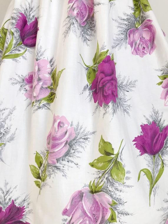 Vintage 50s Purple Rose Floral Print Dress - Medi… - image 2