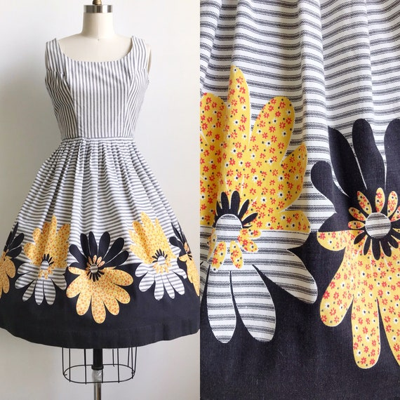 50s Vintage Daisy Striped Border Print Floral Dres