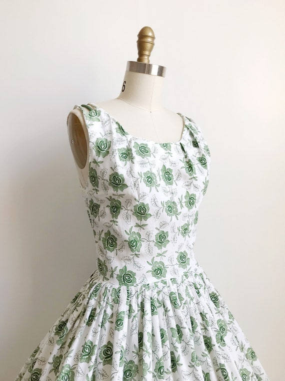 50s Green Rose Embroidered Print Day  Dress  - Sm… - image 3