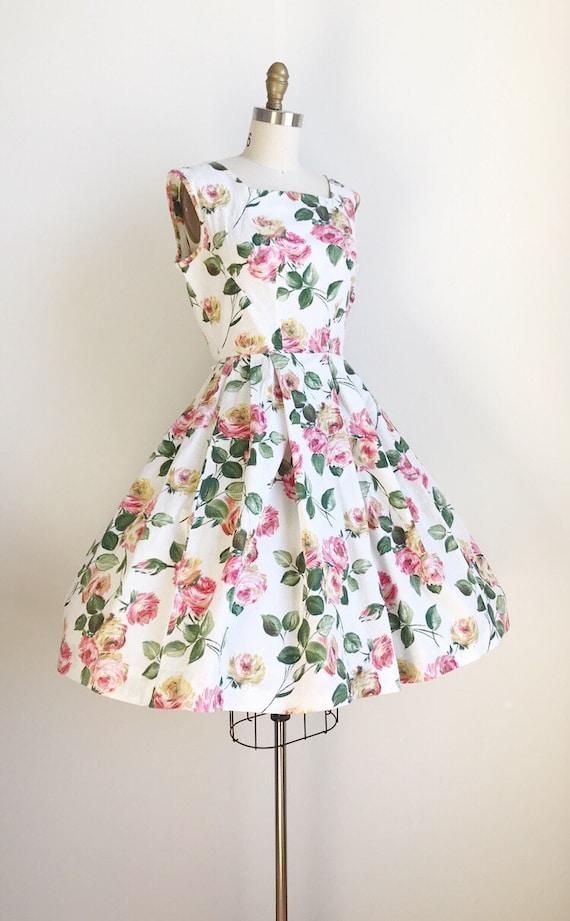 50s Vintage Rose Floral Print Cotton Dress - Medi… - image 3