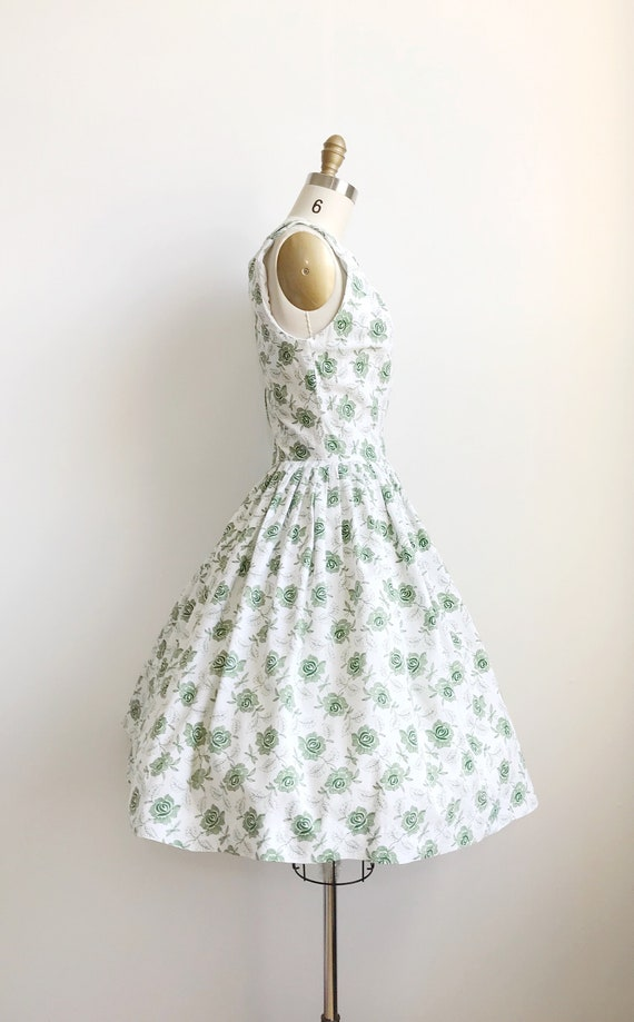 50s Green Rose Embroidered Print Day  Dress  - Sm… - image 5