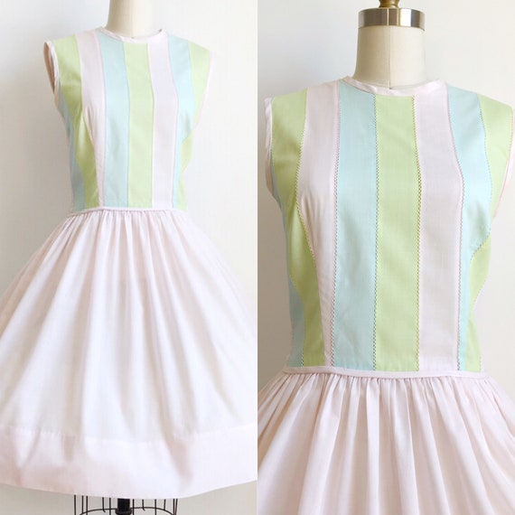 50s Vintage Gay Gibson Pastel Striped Day Dress- M