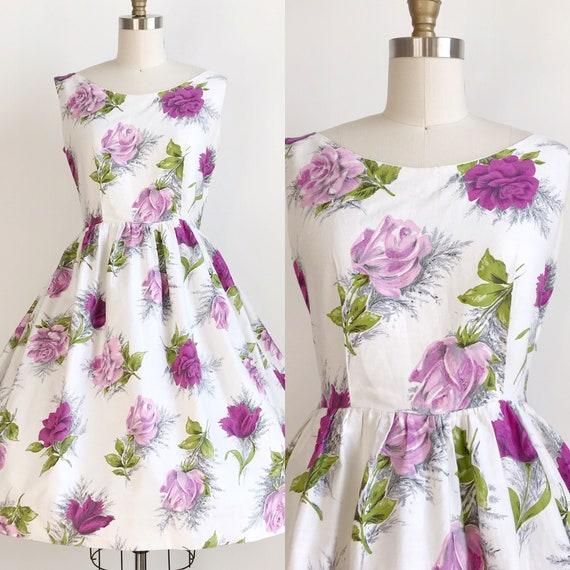 Vintage 50s Purple Rose Floral Print Dress - Mediu