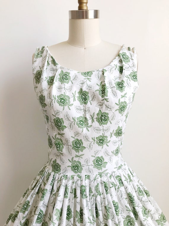 50s Green Rose Embroidered Print Day  Dress  - Sm… - image 2