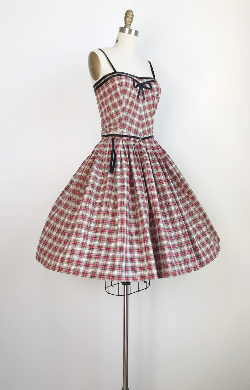 50s Vintage Clare Potter Plaid Gingham Holiday Christmas Party Dress Small
