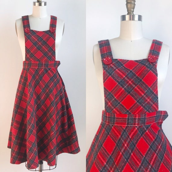 70s Vintage Pinafore Overall Holiday Winter Dress
