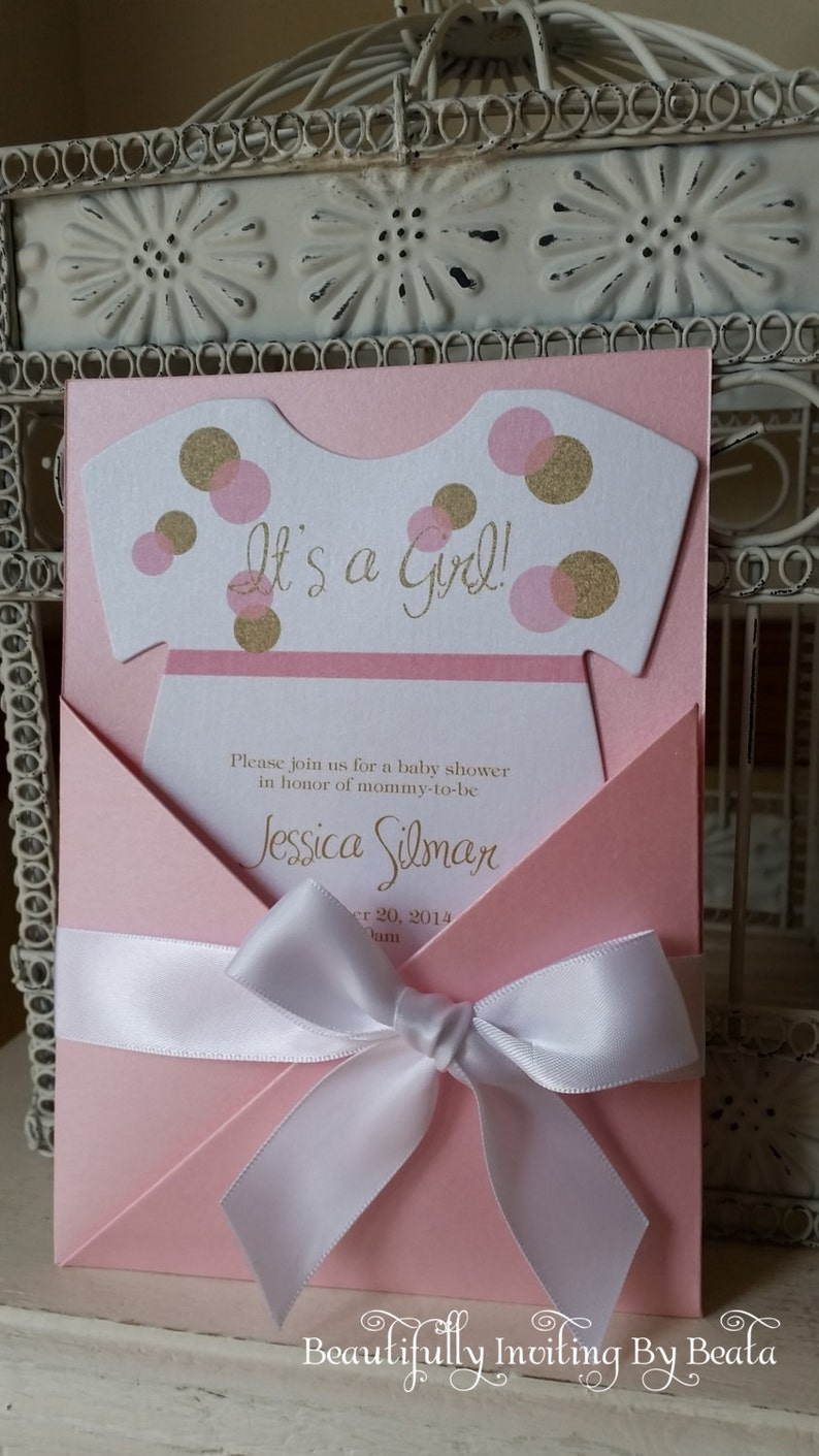The Original Pink and Gold Themed Baby Shower Invitation  image 0