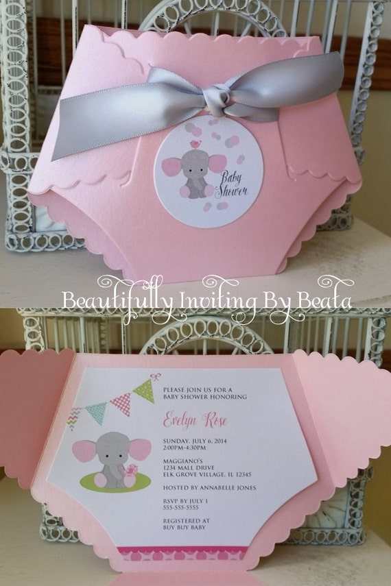 16 A6 Cards PINK Elephant Theme Girls Party Invite Baby Shower Invitations