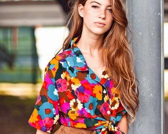 80s Bright Poppy Watercolor Top Vintage Floral Hippie Summer Blouse