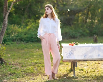 80s Pink Soft Rose Silk Trousers Vintage Pastel Shimmery Classic Pants