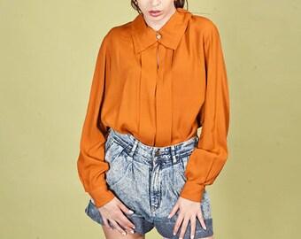 80s Orange Edwardian Collar Blouse Vintage Embellished Rustic High Neck Top