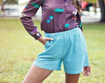 80s Teal Checkered Summer Shorts Vintage Blue Picnic Cotton Short